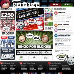 Bloke bingo homepage screenshot
