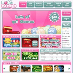 Lots of bingo homepage screenshot
