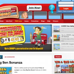 Red bus bingo homepage