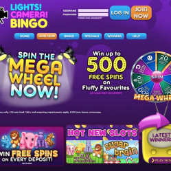 Lights Camera Bingo Home Page