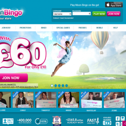 moon bingo homepage screenshot