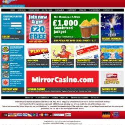 Mirror bingo homepage screenshot