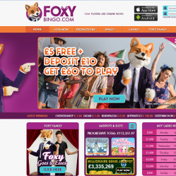 Foxy bingo homepage screenshot