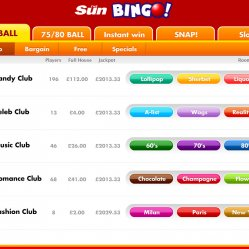 90 Ball bingo rooms at sun bingo