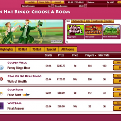 Golden Hat Bingo Lobby