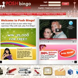Posh bingo homepage screenshot