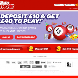 Sun bingo homepage screenshot