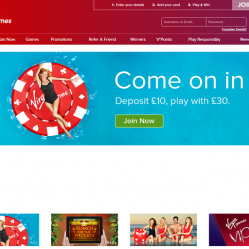 Virgin bingo homepage screenshot