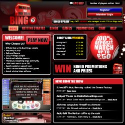 Deal or no deal bingo homepage screenshot