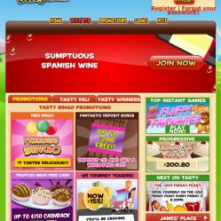 tasty bingo homepage screenshot
