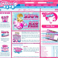Gina bingo homepage screenshot